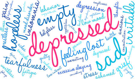 Depressed word cloud on a white background. Illusztráció