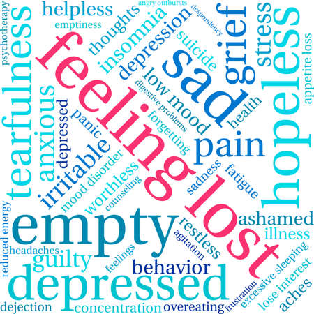 despondency: Feeling Lost word cloud on a white background.