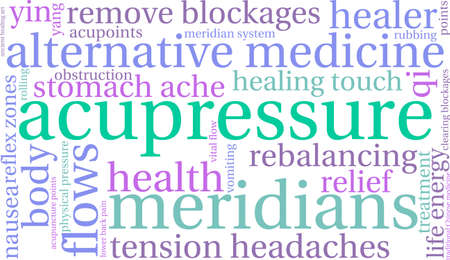 clearing: Acupressure word cloud on a white background.