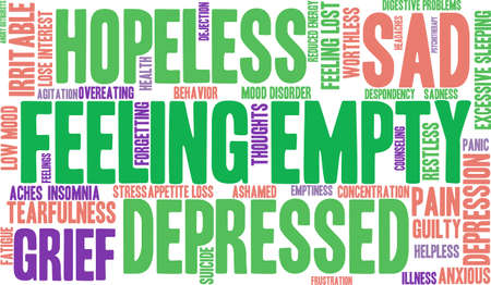 despondency: Feeling Empty word cloud on a white background.