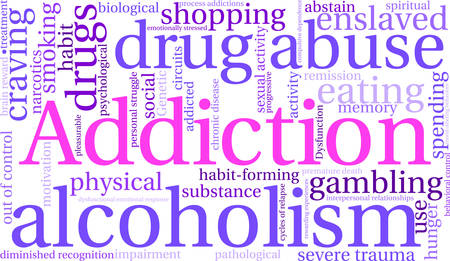 Addiction word  cloud on a white background. Ilustrace