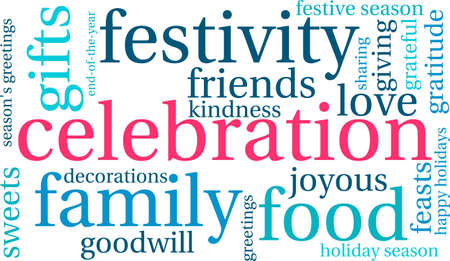 Celebration word cloud on a white background.