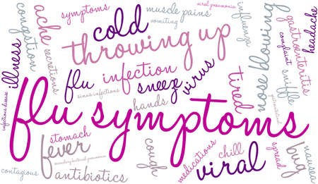 contagious: Flu word cloud on a white background. Illustration