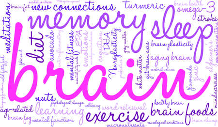 gut: Brain word cloud on a white background. Illustration