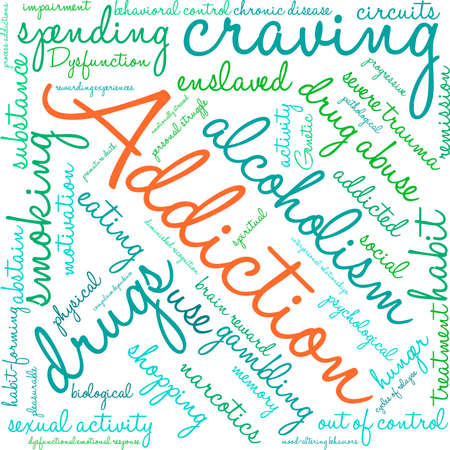 memory drugs: Addiction word  cloud on a white background. Illustration
