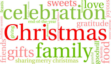 joyous: Christmas word cloud on a white background.