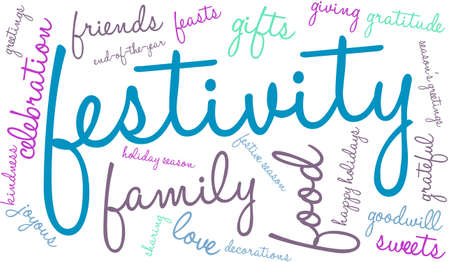 Festivity word cloud on a white background.