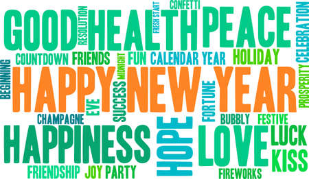 and delighted: Happy word cloud on a white background.