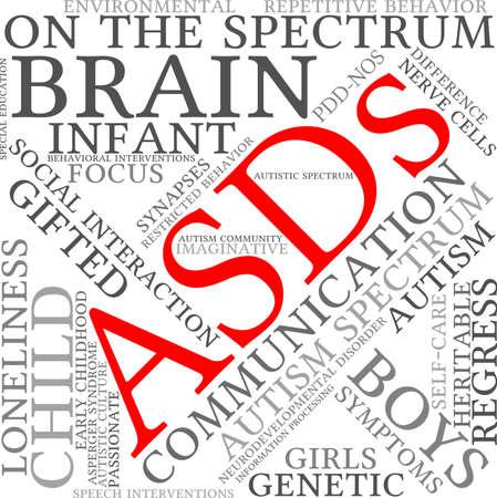 ASDs Word Cloud on a white background. Ilustração