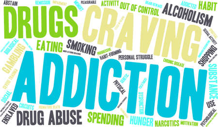 compras compulsivas: Addiction word  cloud on a white background. Vectores