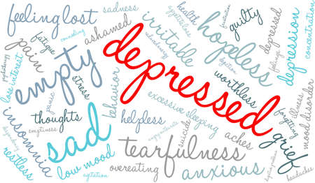 dejection: Depressed word cloud on a white background. Illustration