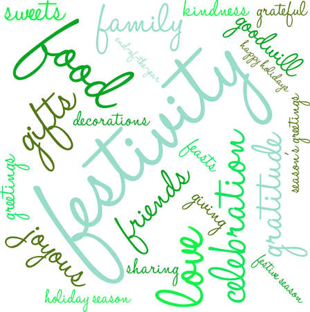 goodness: Festivity word cloud on a white background.
