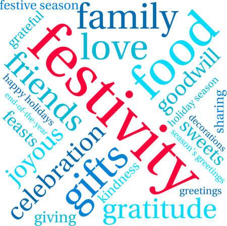 festive: Festivity word cloud on a white background.