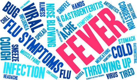 gastroenteritis: Fever word cloud on a white background.