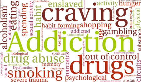 compulsive shopping: Addiction word  cloud on a white background. Vectores