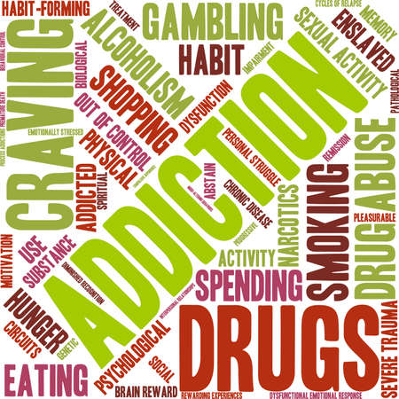 impairment: Addiction word  cloud on a white background. Illustration