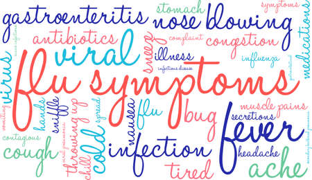 gastroenteritis: Flu word cloud on a white background. Illustration