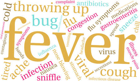 blowing nose: Fever word cloud on a white background.