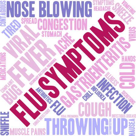 Flu word cloud on a white background. Иллюстрация