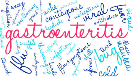 contagious: Gastroenteritis word cloud on a white background. Illustration