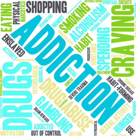 emotional stress: Addiction word  cloud on a white background. Illustration
