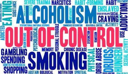 response: OutOfControl Addiction Word Cloud On a White Background.