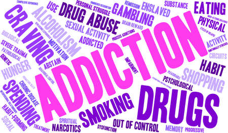 Addiction word  cloud on a white background. Иллюстрация