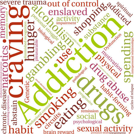 sexual activity: Addiction word  cloud on a white background. Illustration