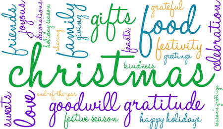 goodness: Christmas word cloud on a white background.