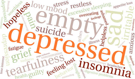 worthless: Depressed word cloud on a white background. Illustration
