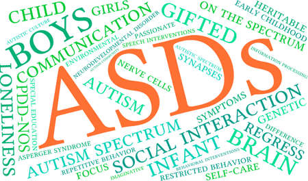 ASDs Word Cloud on a white background. 일러스트