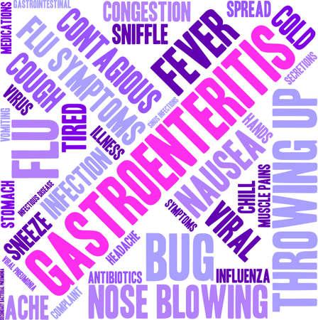 sniffle: Gastroenteritis word cloud on a white background. Illustration