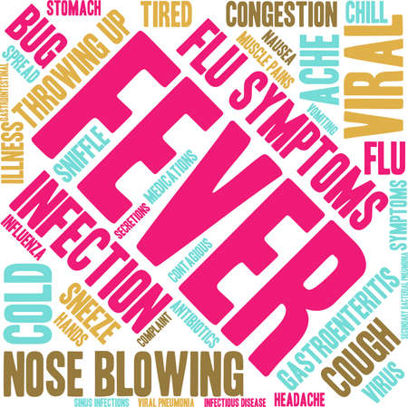 infectious: Fever word cloud on a white background.