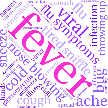 contagious: Fever word cloud on a white background.