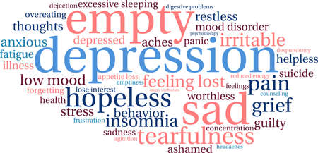 dejection: Depression word cloud on a white background.
