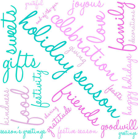 goodness: Holiday Season word cloud on a white background. Illustration