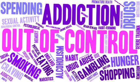 compulsive: OutOfControl Addiction Word Cloud On a White Background.