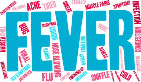 sniffle: Fever word cloud on a white background.