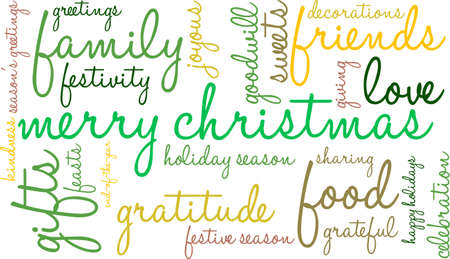 goodness: Merry Christmas word cloud on a white background. Illustration
