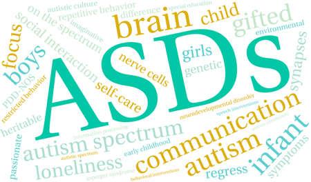 白い背景の上の ASDs の単語の雲。  イラスト・ベクター素材