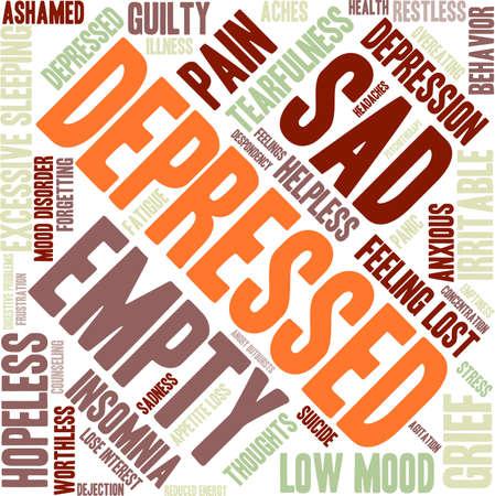 ashamed: Depressed word cloud on a white background. Illustration