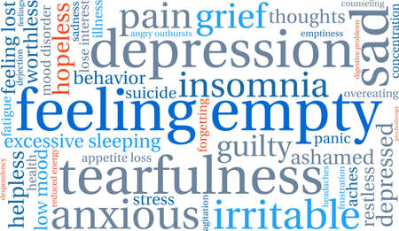 dejection: Feeling Empty word cloud on a white background.