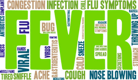 infectious disease: Fever word cloud on a white background.