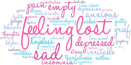Feeling Lost word cloud on a white background.