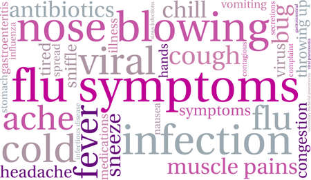 sniffle: Flu word cloud on a white background. Illustration