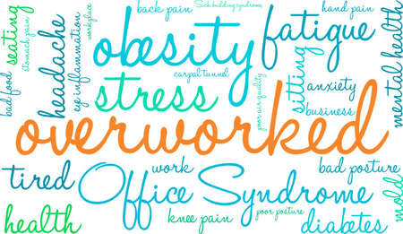 overworked: Overworked word cloud on a white background.