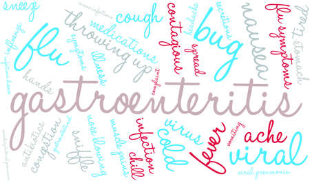 gastroenteritis: Gastroenteritis word cloud on a white background. Illustration