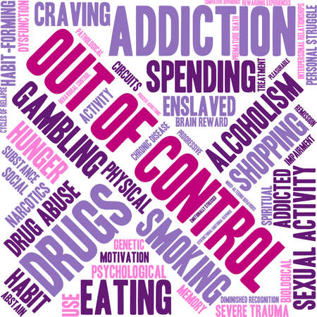 compulsive shopping: OutOfControl Addiction Word Cloud On a White Background.