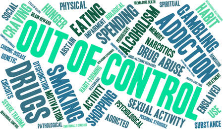 memory drugs: OutOfControl Addiction Word Cloud On a White Background.