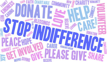 donating: Stop Indifference word cloud on a white background.